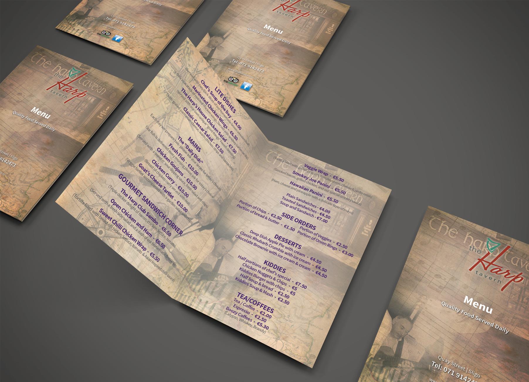 menu printing print diverse print graphic sligo